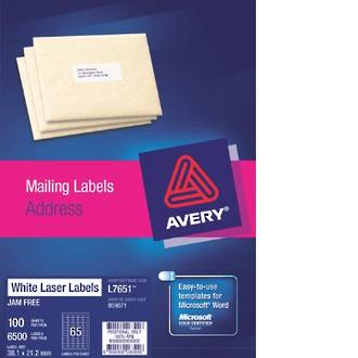 Avery L7651-100 Quick Peel 65up 38.1x21.2mm