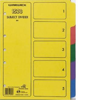 Warwick 15Z8 Subject Dividers A4 5 Tab Coloured Card