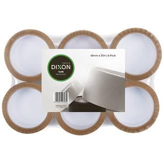 Dixon Packaging Tape Tan 48mmx50m 6 pk
