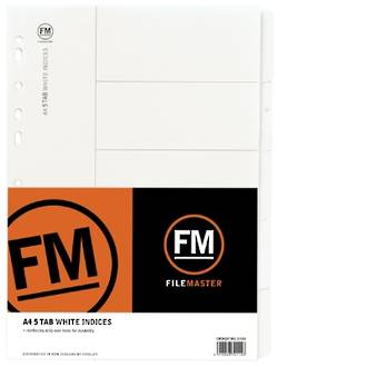 FM Indices A4 5 Tab White Card