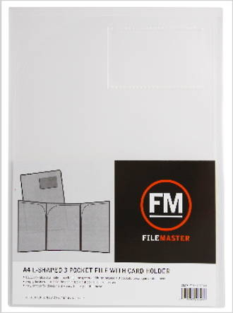 FM L Shaped 3 Pocket A4 Clear with Card Holder