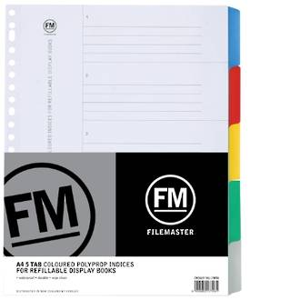 FM Indices A4 5 Tab For Refillable Display Books
