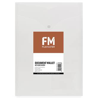 FM Document Wallet Clear Portrait A4 with Card Holder 5 pk