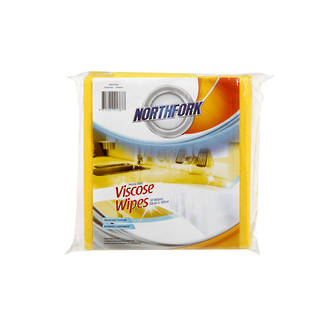 Northfork Viscose Wipes Heavy Duty Yellow Pkt 5