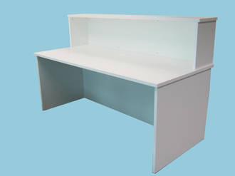 Standard Reception Desk with Hutch & Full Modesty 1800x800 725h 25mm White Pearl