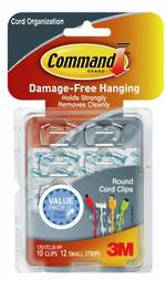 Command Clear Round Cord Organiser Clear Strips 17017CLR-VP
