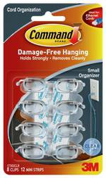 Command Clear Small Cord Organiser Clear Strips 17302CLR