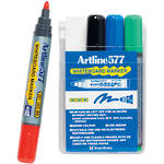 Artline 577 Whiteboard Marker 2mm Bullet Nib Wallet 4 Assorted
