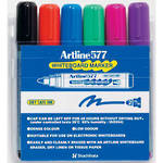 Artline 577 Whiteboard Marker 2mm Bullet Nib Wallet 6 Assorted