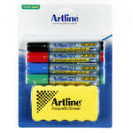 Artline 577 Whiteboard Starter Kit 4 Markers & Magnetic Eraser Assorted